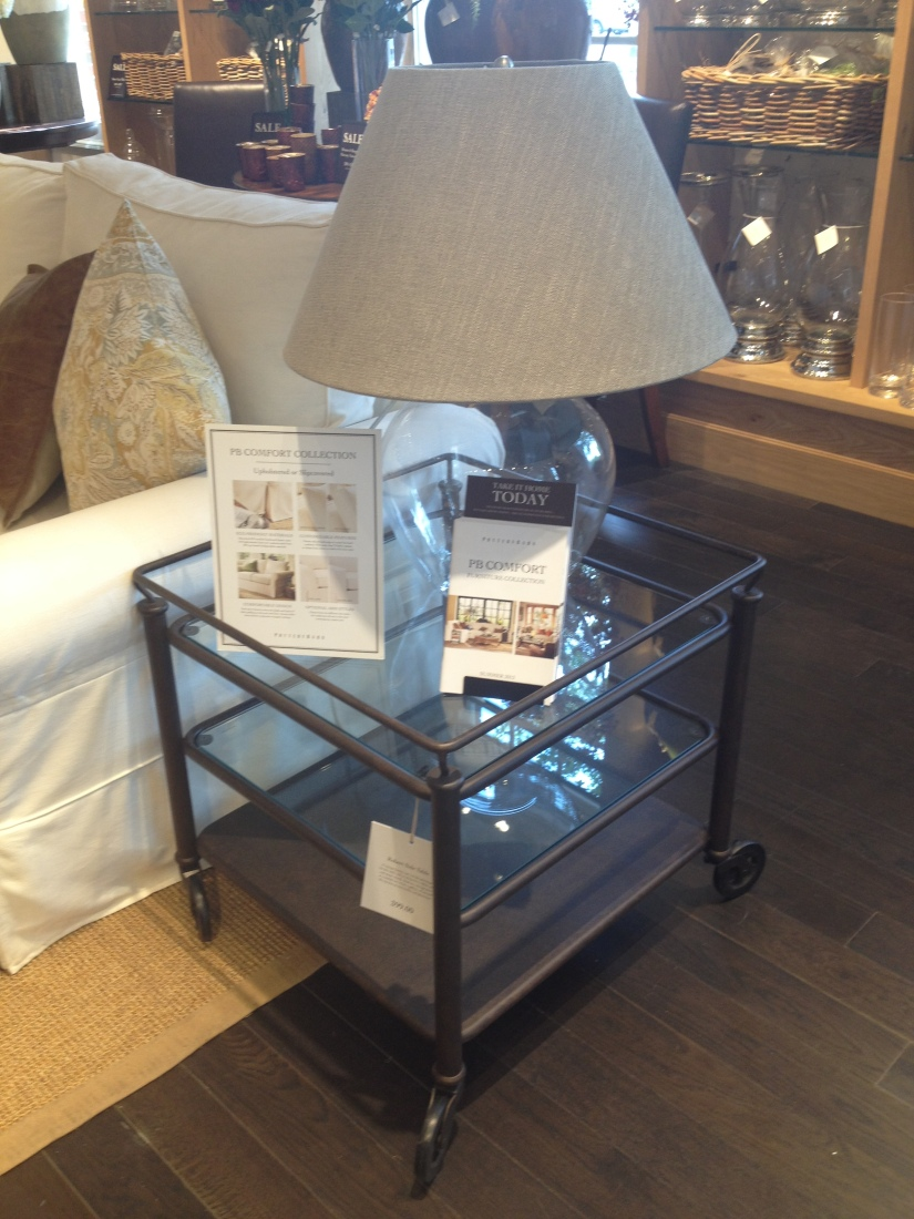 Pottery Barn- love this bar cart/ side table for the den