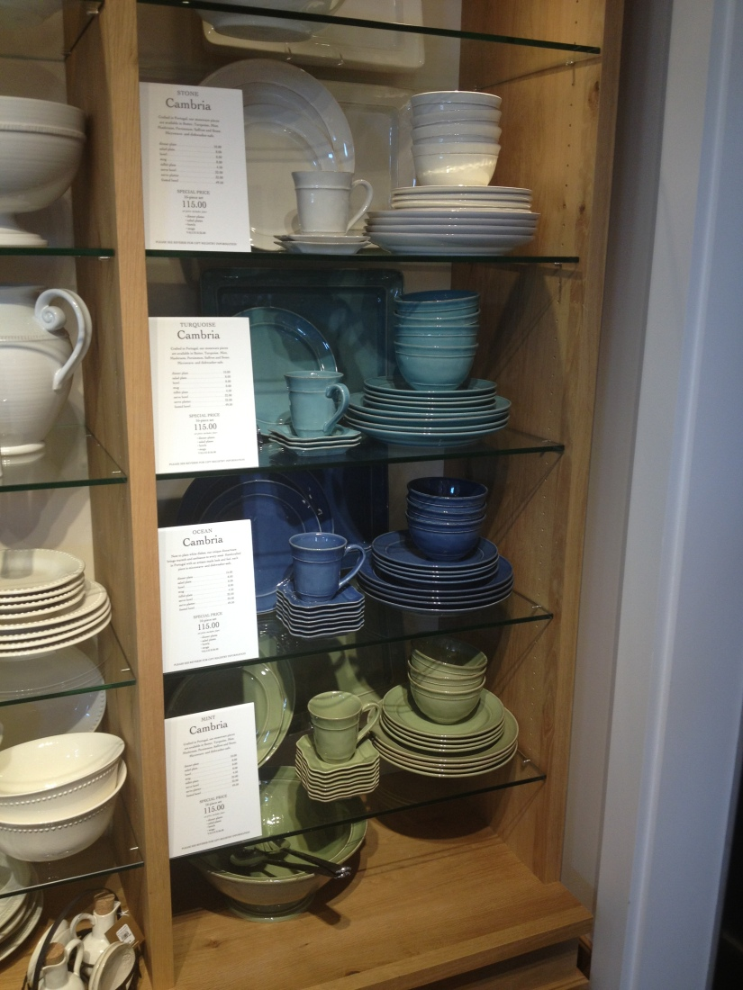 Pottery Barn- will be mixing and matching plates with the ocean blue featured here