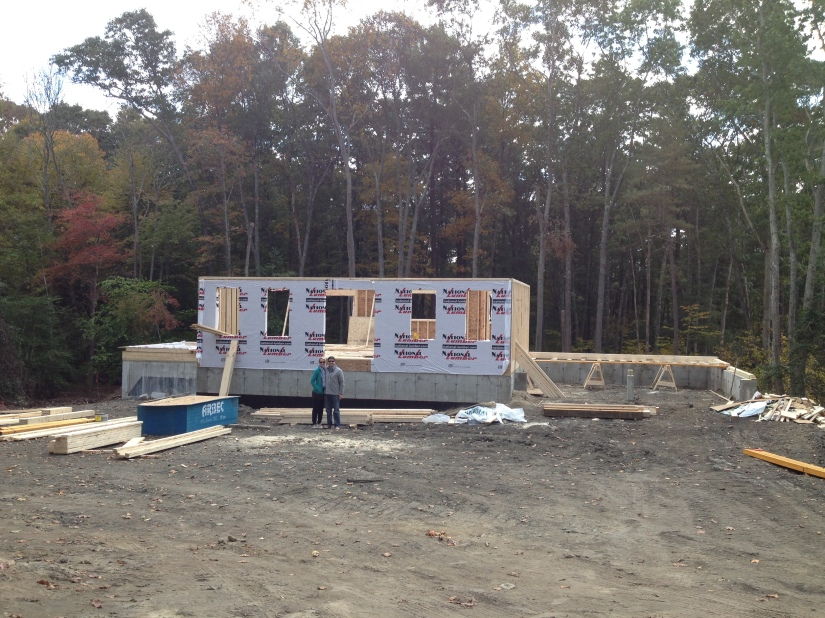 Standing in front of what will be our front porch/ front yard