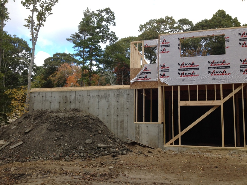 View from the back left- where the garage will be