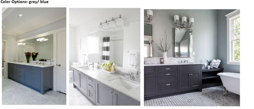 Color options for cabinets- love the blue/ grey