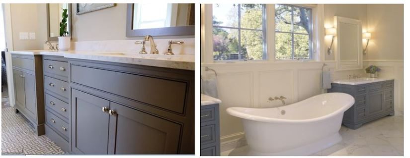 Ths image on the right is the perfect inspiration for cabinet color