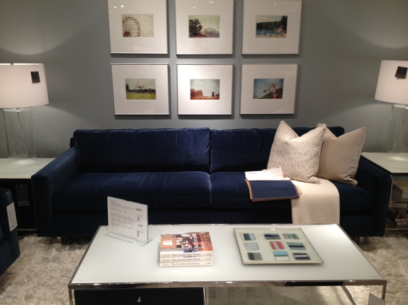 This is my dream couch- deep velvet blue (would prefer a sectional but this could work!)